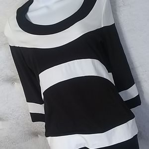 Etcetera Black and White Quarter Sleeve Top